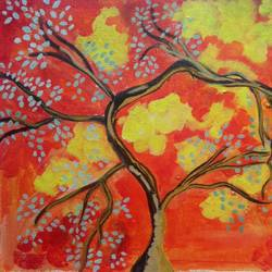 the color and the tree, 16 x 12 inch, abhik mahanti,paintings,abstract paintings,nature paintings,canvas,acrylic color,16x12inch,GAL0404414990Nature,environment,Beauty,scenery,greenery