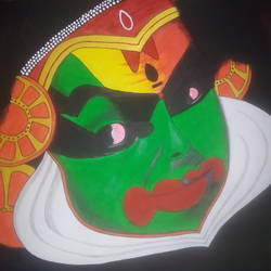 kathakali face, 17 x 12 inch, rakhi pravin,paintings,folk art paintings,paintings for living room,paintings for living room,thick paper,poster color,17x12inch,GAL0649214993