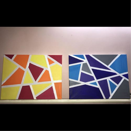 divyanka soni geometric duo, 16 x 12 inch, divyanka soni,paintings,abstract paintings,multi piece paintings,abstract expressionist paintings,paintings for dining room,paintings for living room,paintings for office,paintings for hotel,canvas,acrylic color,poster color,16x12inch,GAL0657914994