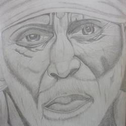 sai baba, 12 x 17 inch, rakhi pravin,figurative drawings,thick paper,graphite pencil,12x17inch,GAL0649214996