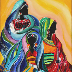 indian women, 9 x 12 inch, amrita das,modern art paintings,paintings for bedroom,canvas,acrylic color,9x12inch,GAL050150