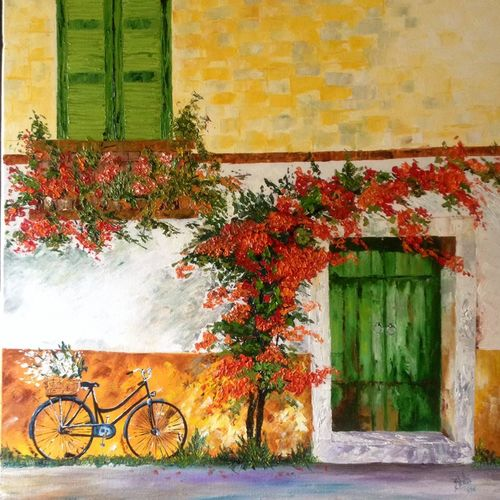 sublime bloom, 24 x 24 inch, shilpi singh patel,landscape paintings,paintings for living room,paintings,canvas,oil,24x24inch,GAL04551500