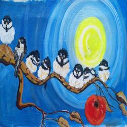 the birds on the tree, 16 x 10 inch, abhik mahanti,paintings,wildlife paintings,modern art paintings,nature paintings,canvas,acrylic color,16x10inch,GAL0404415002Nature,environment,Beauty,scenery,greenery