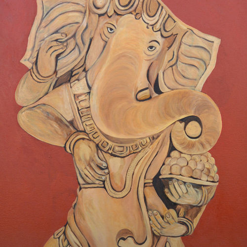 ganesha lambodar, 29 x 45 inch, ajay harit,paintings,figurative paintings,religious paintings,expressionist paintings,paintings for dining room,paintings for living room,paintings for office,paintings for hotel,paintings for school,paintings for hospital,canvas,oil,29x45inch,GAL0199815012