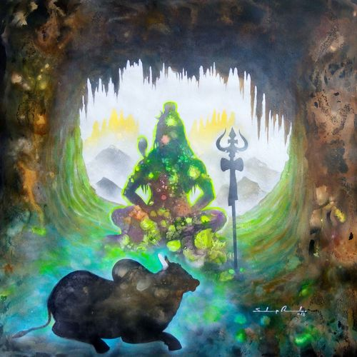 lord shiva in deep cave , 32 x 32 inch, sandeep rawal ,abstract paintings,figurative paintings,flower paintings,folk art paintings,modern art paintings,religious paintings,nature paintings,contemporary paintings,paintings for dining room,paintings for living room,paintings for office,paintings for kids room,paintings for hotel,paintings for school,paintings for hospital,lord shiva paintings,canvas,acrylic color,32x32inch,GAL0251115015Nature,environment,Beauty,scenery,greenery