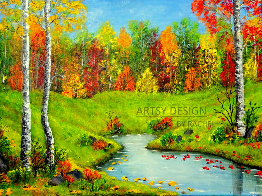 autumn beauty, 24 x 18 inch, rachel a,paintings,landscape paintings,nature paintings,realistic paintings,paintings for dining room,paintings for living room,paintings for bedroom,paintings for office,paintings for hotel,paintings for kitchen,paintings for school,paintings for hospital,canvas board,acrylic color,24x18inch,GAL0659215018Nature,environment,Beauty,scenery,greenery,tree,water,leaf,autumn