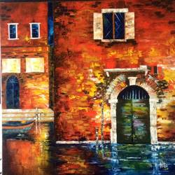 august abode, 24 x 24 inch, shilpi singh patel,paintings for office,cityscape paintings,canvas,oil,24x24inch,GAL04551502