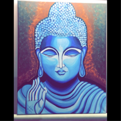 divyanka soni lord buddha, 16 x 20 inch, divyanka soni,paintings,buddha paintings,religious paintings,paintings for dining room,paintings for living room,paintings for office,paintings for hotel,paintings for school,paintings for hospital,canvas,acrylic color,poster color,16x20inch,religious,peace,meditation,meditating,gautam,goutam,buddha,lord,blue,mudra,giving blessing,GAL0657915027