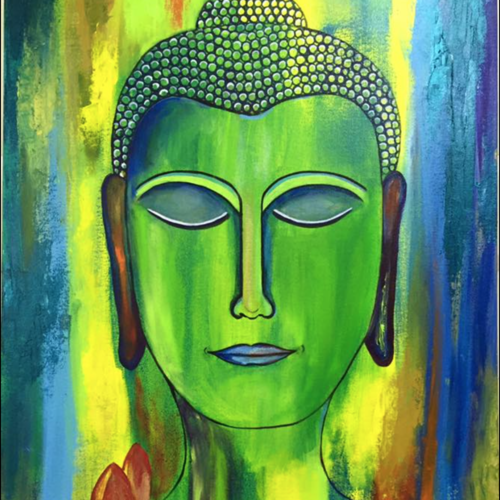 happy buddha, 36 x 24 inch, raashi  divecha ,paintings,buddha paintings,modern art paintings,religious paintings,portrait paintings,love paintings,paintings for dining room,paintings for living room,paintings for bedroom,paintings for office,paintings for kids room,paintings for hotel,paintings for kitchen,paintings for school,canvas,acrylic color,36x24inch,religious,peace,meditation,meditating,gautam,goutam,buddha,lord,green,buddha,face,modern art,GAL0659415028