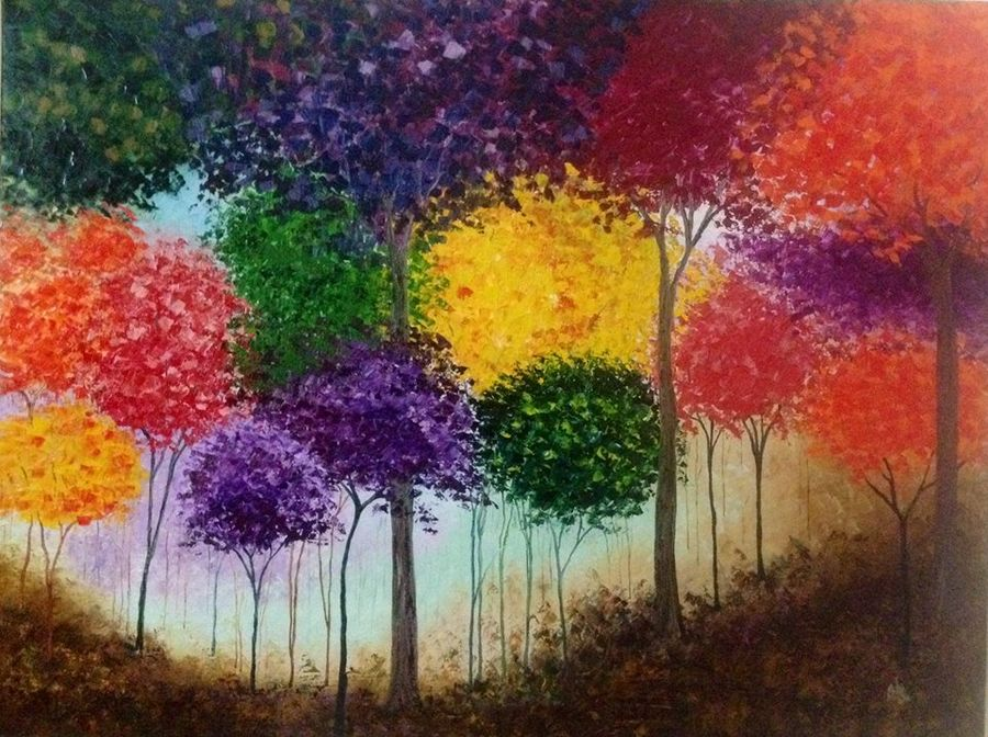 jungle of colours, 33 x 44 inch, shilpi singh patel,paintings for office,canvas,oil,33x44inch,GAL04551503
