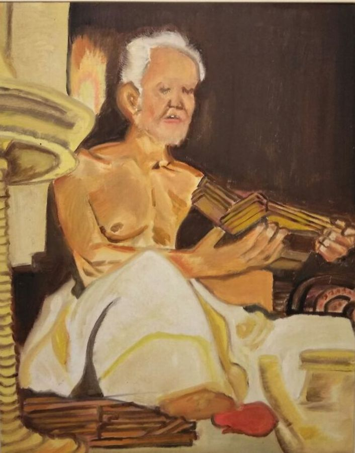 old man reading vedas, 24 x 30 inch, sujeer lukose,portrait paintings,paintings for living room,canvas,oil,24x30inch,GAL05661504