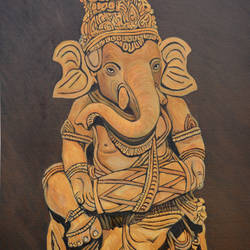 ganesha with drums, 24 x 36 inch, ajay harit,paintings,figurative paintings,modern art paintings,religious paintings,ganesha paintings,paintings for dining room,paintings for living room,paintings for office,paintings for hotel,paintings for school,paintings for hospital,canvas,oil,24x36inch,GAL0199815041,vinayak,ekadanta,ganpati,lambodar,peace,devotion,religious,lord ganesha,lordganpati,ganpati,ganesha,lord ganesh,elephant god,religious,ganpati bappa morya,mouse,mushakraj,ladoo,sweets,playing drums,melody,ganpati bappa morya,ganesh chaturthi,ganesh murti,elephant god,religious,lord ganesh,ganesha,om,hindu god,shiv parvati, putra,bhakti,blessings,aashirwad,pooja,puja,aarti,ekdant,vakratunda,lambodara,bhalchandra,gajanan,vinayak,prathamesh,vignesh,heramba,siddhivinayak,mahaganpati,omkar,mushak,mouse,ladoo,modak