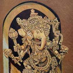 ganesha vighna vinashak, 24 x 36 inch, ajay harit,figurative paintings,modern art paintings,religious paintings,expressionist paintings,ganesha paintings,paintings for dining room,paintings for living room,paintings for hotel,paintings for school,paintings for hospital,canvas,oil,24x36inch,GAL0199815042,vinayak,ekadanta,ganpati,lambodar,peace,devotion,religious,lord ganesha,lordganpati,ganpati bappa morya,ganesh chaturthi,ganesh murti,elephant god,religious,lord ganesh,ganesha,om,hindu god,shiv parvati, putra,bhakti,blessings,aashirwad,pooja,puja,aarti,ekdant,vakratunda,lambodara,bhalchandra,gajanan,vinayak,prathamesh,vignesh,heramba,siddhivinayak,mahaganpati,omkar,mushak,mouse,ladoo,modak