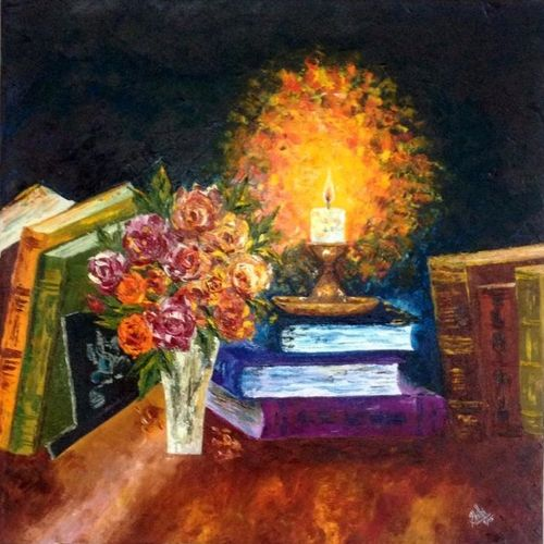 guiding light, 24 x 24 inch, shilpi singh patel,impressionist paintings,paintings for office,paintings,canvas,oil,24x24inch,GAL04551505