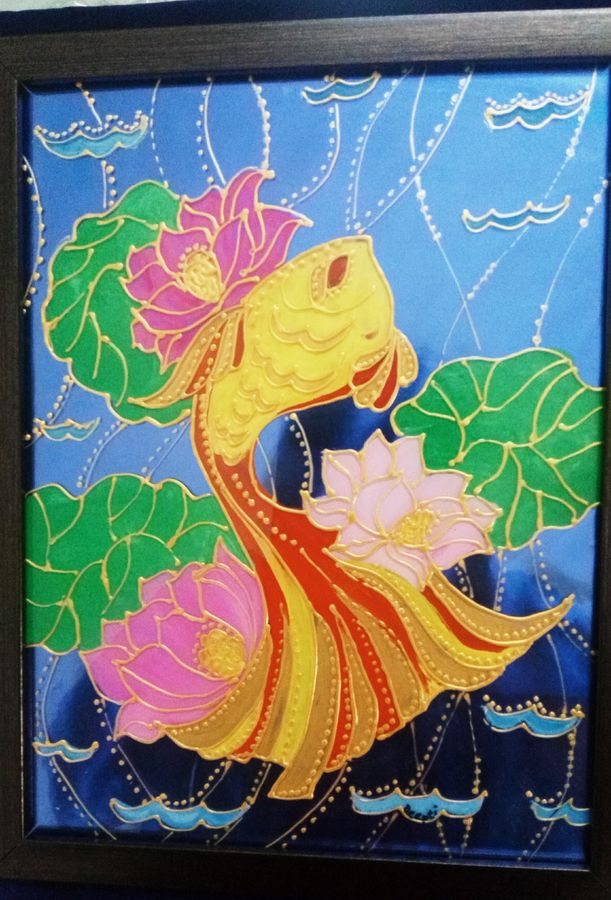fish in lotus pond, 8 x 10 inch, deepti agrawal,paintings for office,modern art paintings,abstract expressionist paintings,art deco paintings,pop art paintings,acrylic glass,mixed media,8x10inch,GAL0596815057