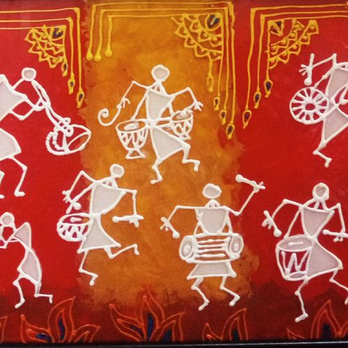 warli celebration, 8 x 10 inch, deepti agrawal,folk art paintings,warli paintings,acrylic glass,mixed media,8x10inch,GAL0596815059
