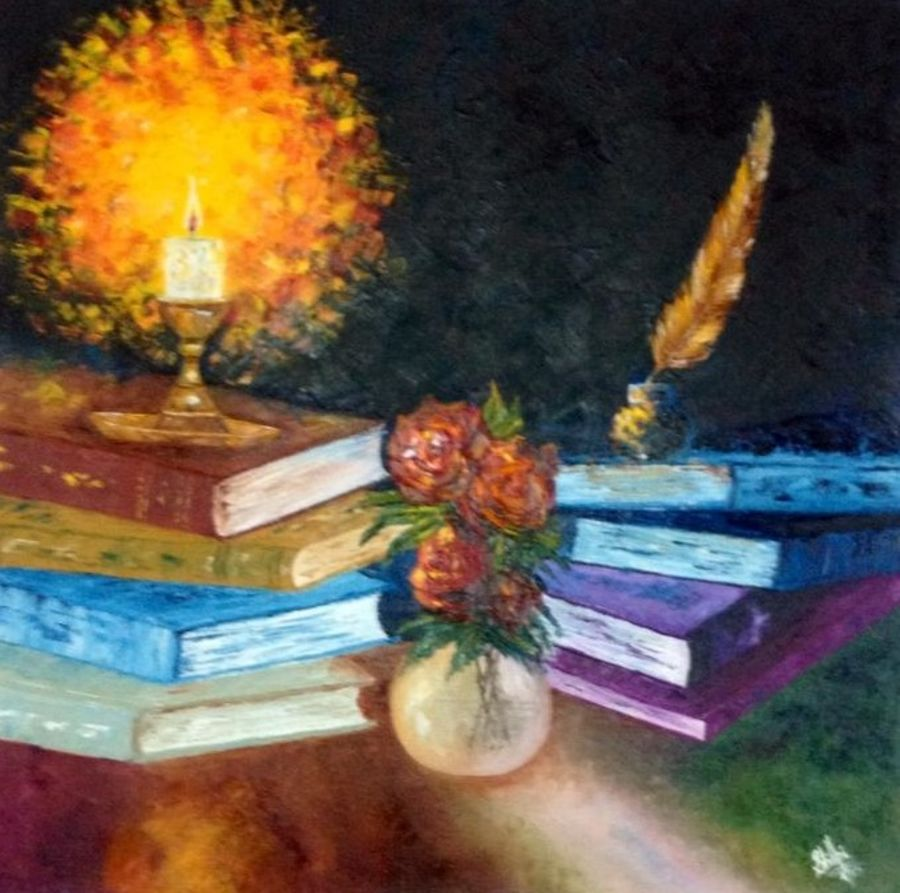 volumes of knowedge, 24 x 24 inch, shilpi singh patel,impressionist paintings,paintings for office,paintings,canvas,oil,24x24inch,GAL04551506