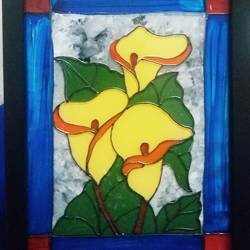yellow lillies, 6 x 8 inch, deepti agrawal,paintings,nature paintings,acrylic glass,mixed media,6x8inch,GAL0596815060Nature,environment,Beauty,scenery,greenery