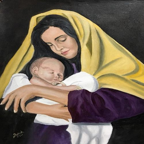 mother, 20 x 24 inch, subhash gijare,paintings,figurative paintings,portrait paintings,realistic paintings,baby paintings,paintings for dining room,paintings for living room,paintings for office,paintings for kids room,paintings for hotel,paintings for kitchen,paintings for school,paintings for hospital,canvas,oil,20x24inch,GAL013815083