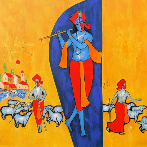 kanha, 42 x 35 inch, chetan katigar,figurative paintings,modern art paintings,art deco paintings,expressionist paintings,impressionist paintings,radha krishna paintings,contemporary paintings,love paintings,paintings for living room,paintings for bedroom,paintings for office,paintings for hotel,canvas,acrylic color,42x35inch, Krishna, love, lord, flute,,GAL026615096,krishna,Lord krishna,krushna,radha krushna,flute,peacock feather,melody,peace,religious,god,love