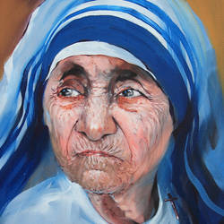 mother teresa-8, 18 x 24 inch, bijendra  pratap ,religious paintings,paintings for living room,mother teresa paintings,canvas,acrylic color,18x24inch,GAL04531510