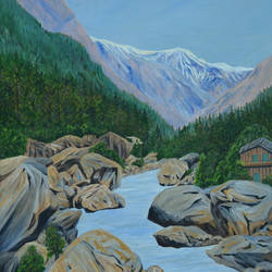 landscape gangotri i, 30 x 40 inch, ajay harit,paintings,landscape paintings,nature paintings,realism paintings,realistic paintings,paintings for dining room,paintings for living room,paintings for bedroom,paintings for office,paintings for hotel,paintings for school,paintings for hospital,canvas,oil,30x40inch,GAL0199815111Nature,environment,Beauty,scenery,greenery