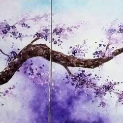 purple blossom ( set of 3 canvas), 60 x 24 inch, shilpi singh patel,flower paintings,paintings for living room,canvas,oil,60x24inch,GAL04551512