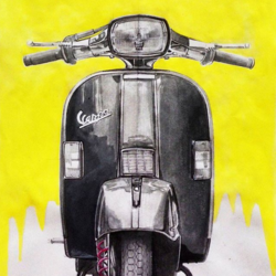 vintage vespa, 8 x 12 inch, mahander singh,paintings,realistic paintings,paintings for living room,paintings for bedroom,paintings for office,paintings for living room,paintings for bedroom,paintings for office,paper,watercolor,8x12inch,GAL0665115136
