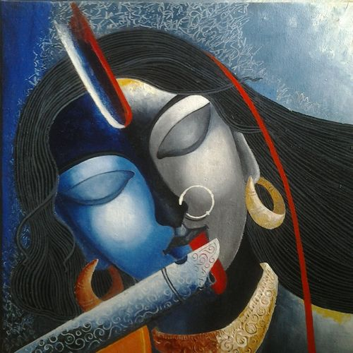 kaali krishna, 12 x 12 inch, tanaya das,religious paintings,paintings for dining room,radha krishna paintings,canvas,acrylic color,12x12inch,GAL05471514,radhakrishna,love,lord,lordkrishna,flute,music,