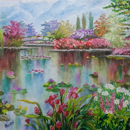 pond with water lilies in the park, 15 x 11 inch, pankti jain,paintings,landscape paintings,nature paintings,art deco paintings,paintings for living room,paintings for bedroom,paintings for office,paintings for hotel,paintings for school,paintings for hospital,paper,watercolor,15x11inch,GAL0305715146Nature,environment,Beauty,scenery,greenery