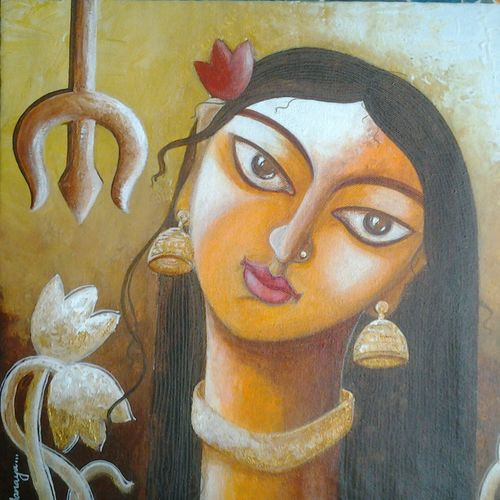 umaa, 12 x 12 inch, tanaya das,figurative paintings,paintings for living room,canvas,acrylic color,12x12inch,GAL05471515