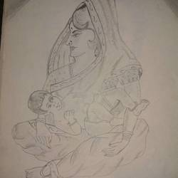 mother with her baby, 8 x 12 inch, sachin  agrawal,drawings,realism drawings,paper,graphite pencil,8x12inch,GAL0657215150