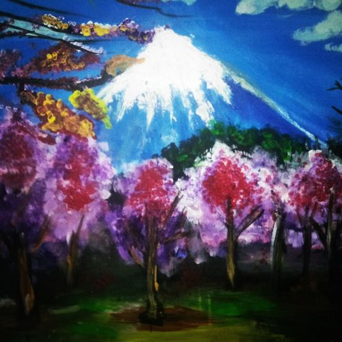 mountain view, 24 x 18 inch, anmol yadav,paintings for bathroom,paintings for living room,flower paintings,canvas,acrylic color,24x18inch,GAL0666015152