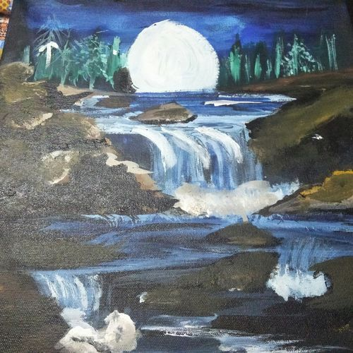 moon n stream, 15 x 15 inch, anmol yadav,paintings,abstract paintings,landscape paintings,nature paintings,abstract expressionist paintings,paintings for dining room,paintings for living room,paintings for bedroom,paintings for office,paintings for bathroom,paintings for kids room,paintings for hotel,paintings for kitchen,paintings for school,paintings for hospital,canvas,acrylic color,15x15inch,GAL0666015155Nature,environment,Beauty,scenery,greenery