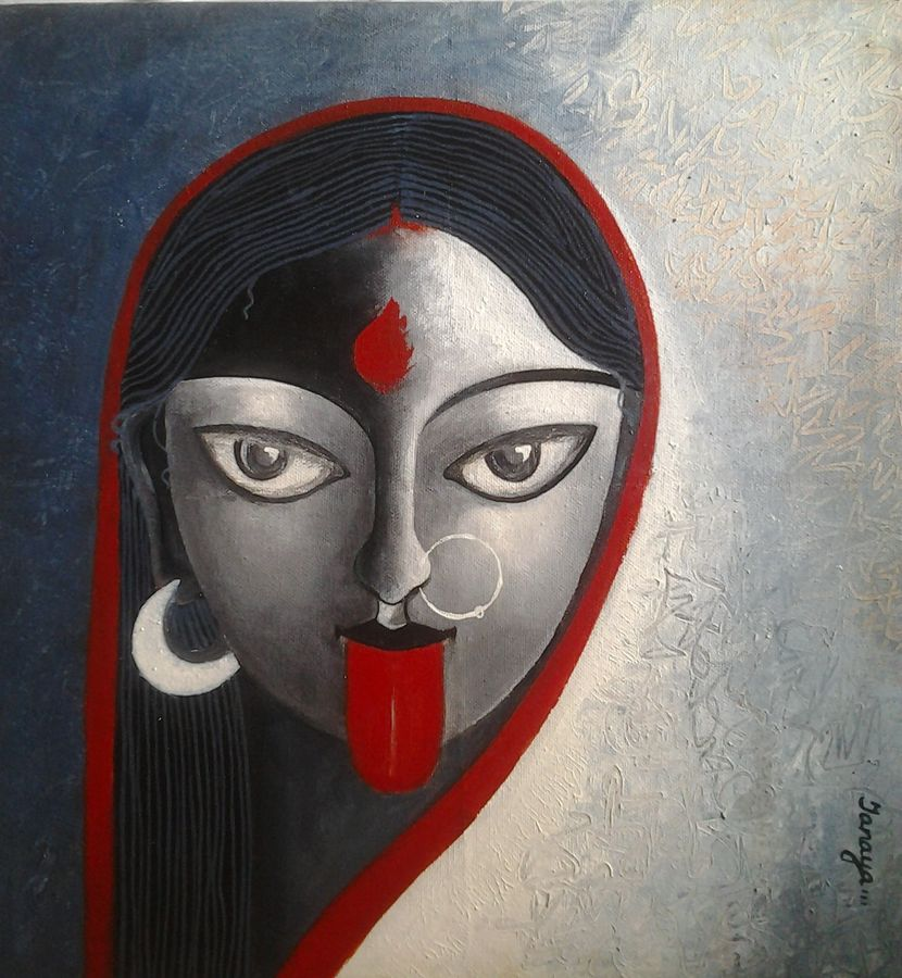 maa kaali, 12 x 12 inch, tanaya das,religious paintings,paintings for bedroom,canvas,acrylic color,12x12inch,GAL05471516