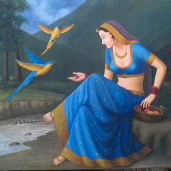 rajasthani, 48 x 39 inch, anil chaurasiya,paintings,figurative paintings,realistic paintings,canvas,oil,48x39inch,GAL0666615165