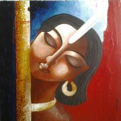 harii, 12 x 12 inch, tanaya das,religious paintings,paintings for dining room,canvas,acrylic color,12x12inch,GAL05471517