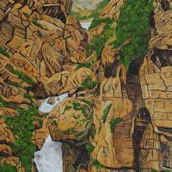 origin of saraswati, 30 x 40 inch, ajay harit,paintings,landscape paintings,nature paintings,expressionist paintings,realism paintings,realistic paintings,paintings for dining room,paintings for living room,paintings for office,paintings for hotel,paintings for school,paintings for hospital,canvas,oil,30x40inch,GAL0199815173Nature,environment,Beauty,scenery,greenery