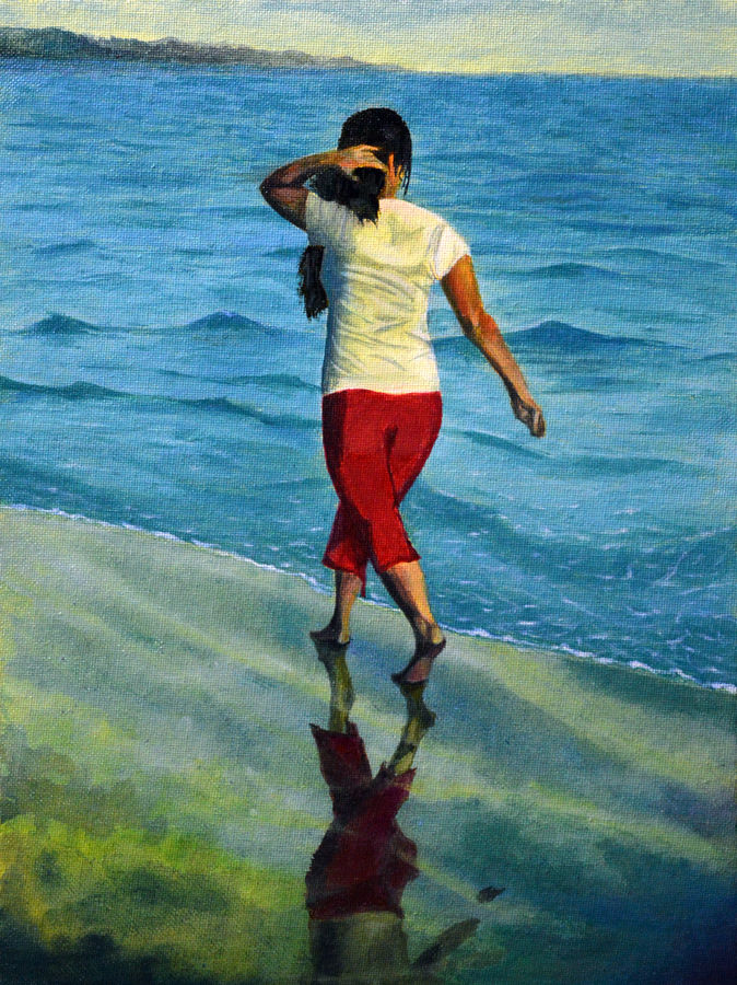 wet woman walking on the beach, 9 x 12 inch, ankith shetty,figurative paintings,paintings for living room,canvas,acrylic color,9x12inch,GAL06161518