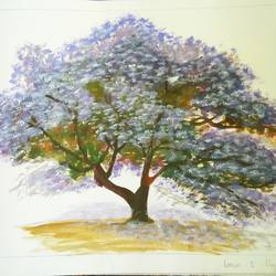 tree , 12 x 15 inch, sarah  basumatary ,paintings,landscape paintings,thick paper,watercolor,12x15inch,GAL0668015196