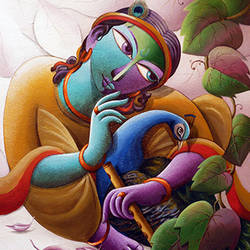 mayavi (lord krishna series), 32 x 32 inch, dhananjay  mukherjee,figurative paintings,paintings for living room,radha krishna paintings,canvas,acrylic color,32x32inch,krishna,lord,lordkrishna,flute,peacock,music,religious,GAL06191520,krishna,Lord krishna,krushna,radha krushna,flute,peacock feather,melody,peace,religious,god,love,romance