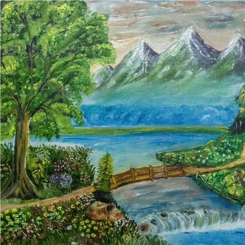 heavenly place, 20 x 16 inch, poonam wadhawan,paintings,landscape paintings,nature paintings,paintings for dining room,paintings for living room,paintings for bedroom,paintings for office,paintings for hotel,paintings for school,paintings for hospital,canvas,oil,20x16inch,GAL0649315210Nature,environment,Beauty,scenery,greenery,tree,mountain,water,flower,heaven,waterfall,mountains