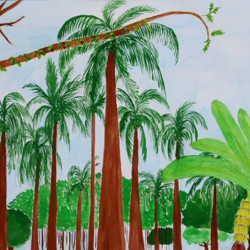 by the coconut grove, 15 x 11 inch, apratihata chappidi,paintings,landscape paintings,nature paintings,paintings for living room,paintings for office,paintings for hotel,paintings for school,paintings for dining room,paintings for bedroom,paintings for kids room,cartridge paper,poster color,15x11inch,GAL0563515214Nature,environment,Beauty,scenery,greenery