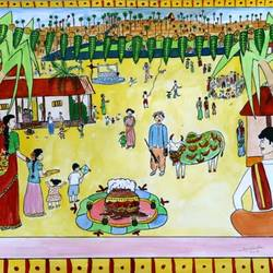 sankranti, 15 x 11 inch, apratihata chappidi,paintings,folk art paintings,conceptual paintings,contemporary paintings,children paintings,paintings for dining room,paintings for living room,paintings for office,paintings for kids room,paintings for hotel,paintings for school,landscape paintings,religious paintings,nature paintings,cartridge paper,poster color,15x11inch,GAL0563515215Nature,environment,Beauty,scenery,greenery