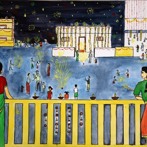 mother and daughter, 15 x 11 inch, apratihata chappidi,paintings,folk art paintings,cityscape paintings,conceptual paintings,religious paintings,children paintings,kids paintings,paintings for dining room,paintings for living room,paintings for office,paintings for kids room,paintings for hotel,paintings for school,modern art paintings,cartridge paper,poster color,15x11inch,GAL0563515216