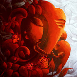 vandevta (green god series), 32 x 36 inch, dhananjay  mukherjee,figurative paintings,paintings for living room,canvas,acrylic color,32x36inch,GAL06191522