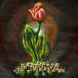 tulip, 14 x 18 inch, samit kumar,paintings,flower paintings,paintings for living room,thick paper,poster color,14x18inch,GAL0443415220