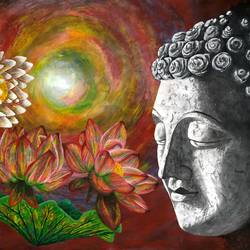 buddha 01, 30 x 24 inch, samit kumar,paintings,buddha paintings,paintings for living room,thick paper,poster color,30x24inch,GAL0443415221