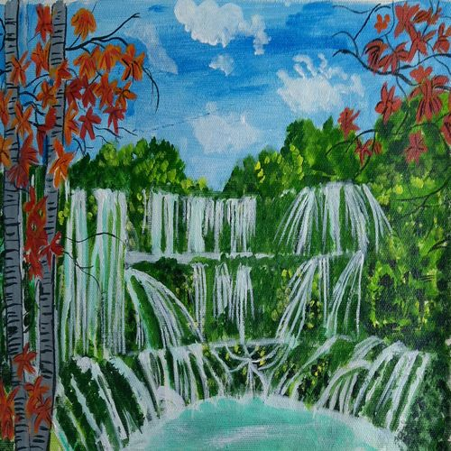 the waterfall, 16 x 10 inch, abhik mahanti,paintings,landscape paintings,canvas,acrylic color,16x10inch,GAL0404415223