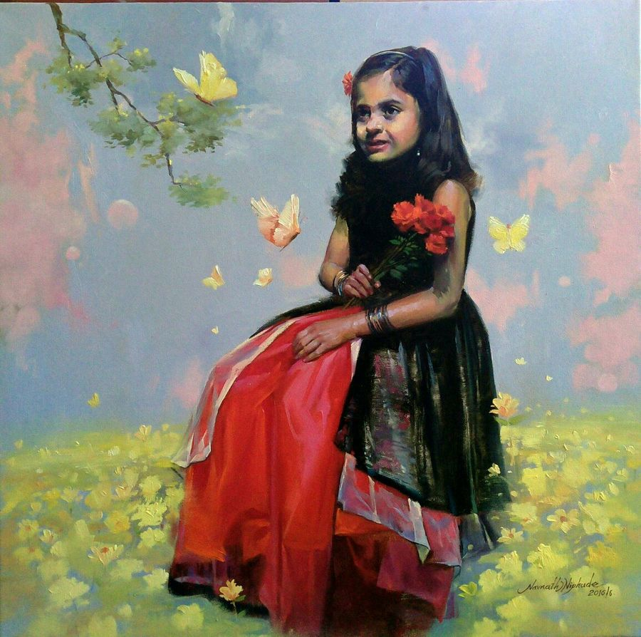 enjoy with butterfly , 24 x 24 inch, navnath  niphade,figurative paintings,canvas,oil,24x24inch,GAL0670015226